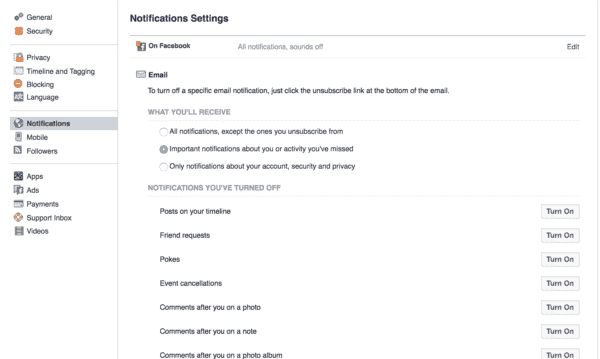 facebook personal profile notifications settings screenshot