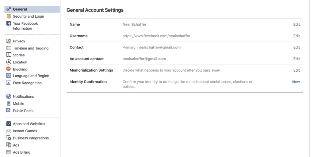facebook general account settings screenshot