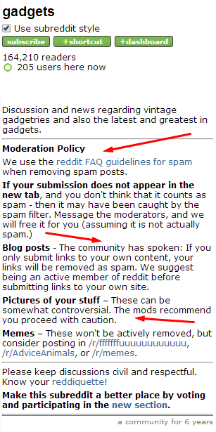 gadget mod rules what is a subreddit