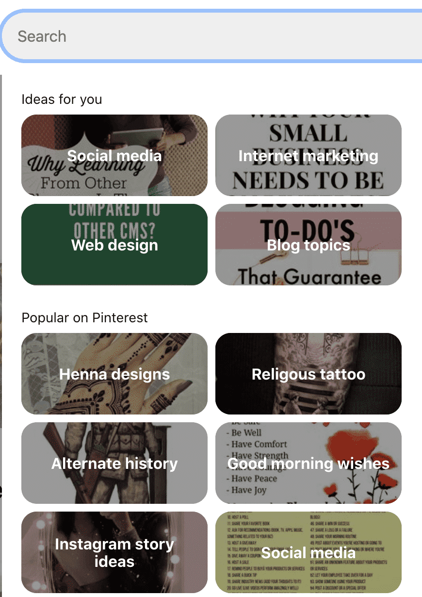 Regularly visit the Popular on Pinterest section located in your search bar