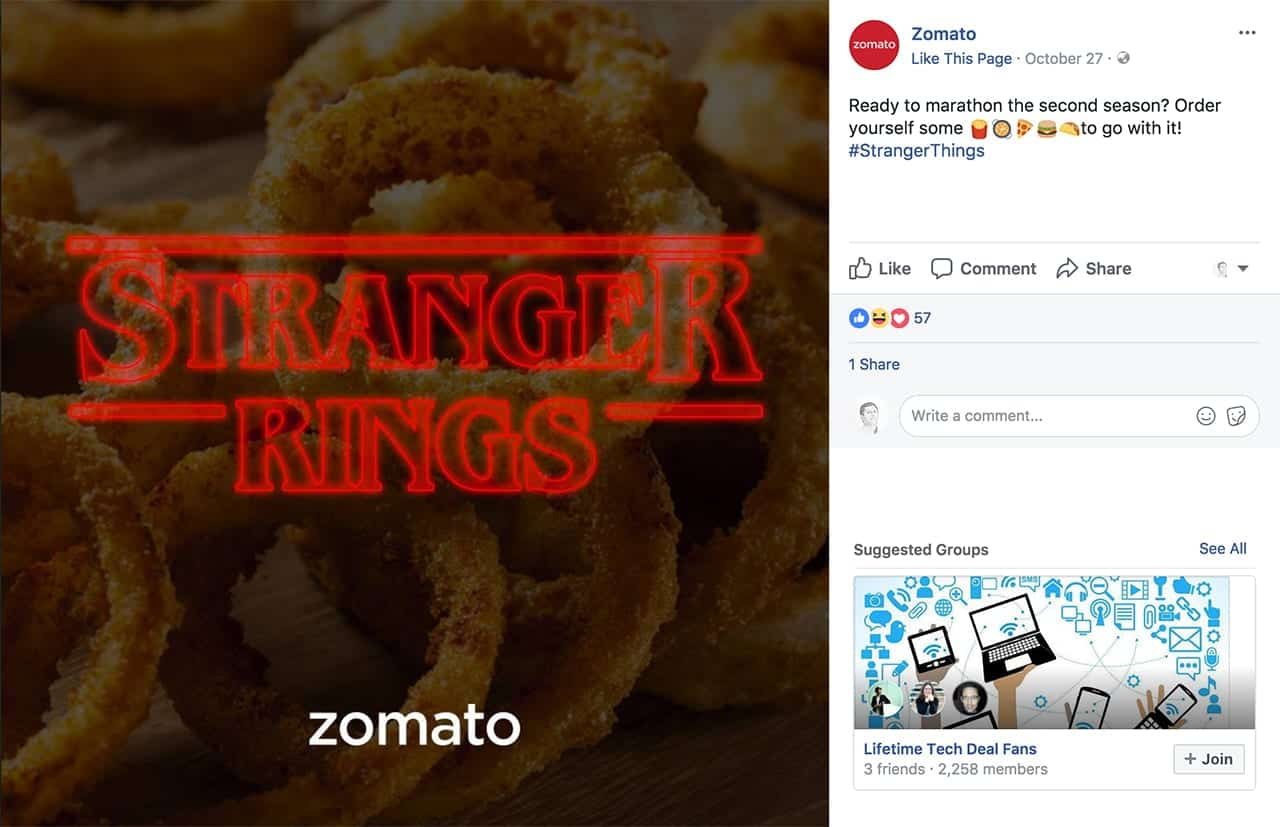 zomato social media content categories post
