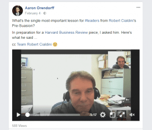 livestream interview is a great Facebook engagement post