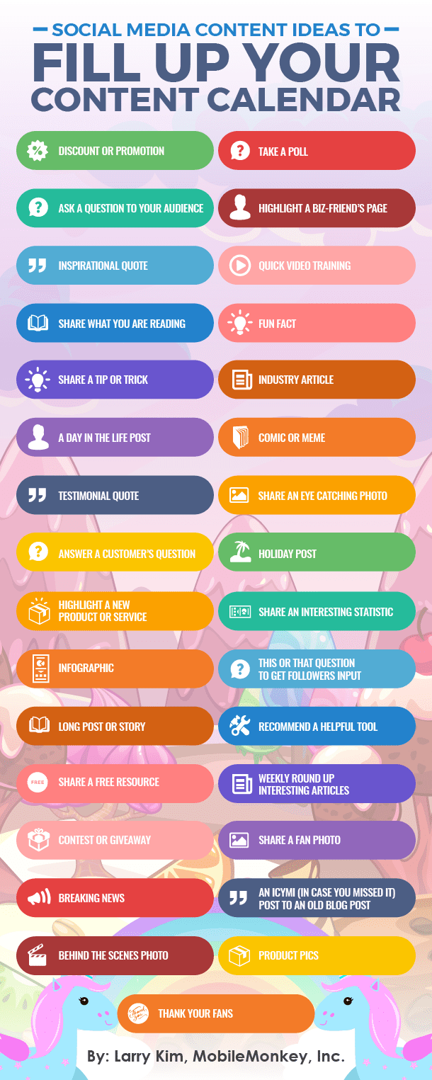 For more ideas on what to put into your social media calendar, check out this great infographic.