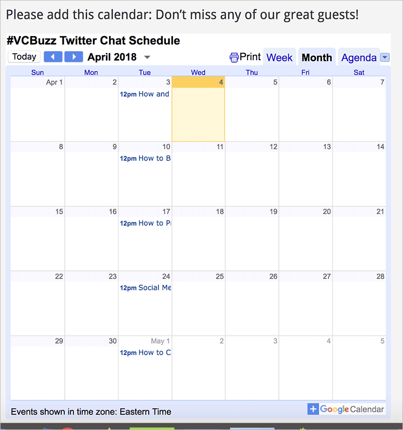 Google Calendar for editorial content marketing calendar