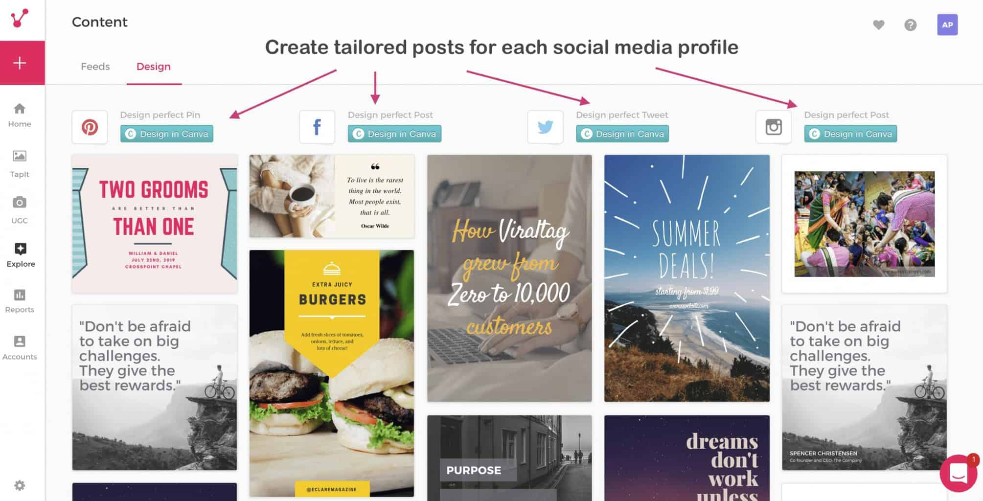 create tailored posts for each profile viraltag social media dashboard