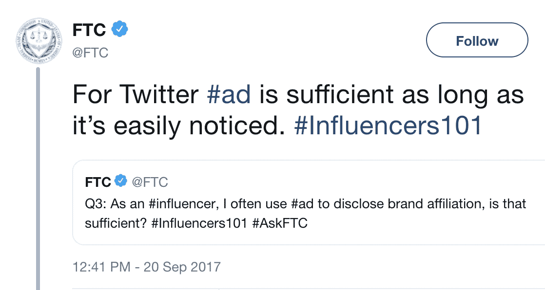 FTC Twitter account #ad social media disclosures