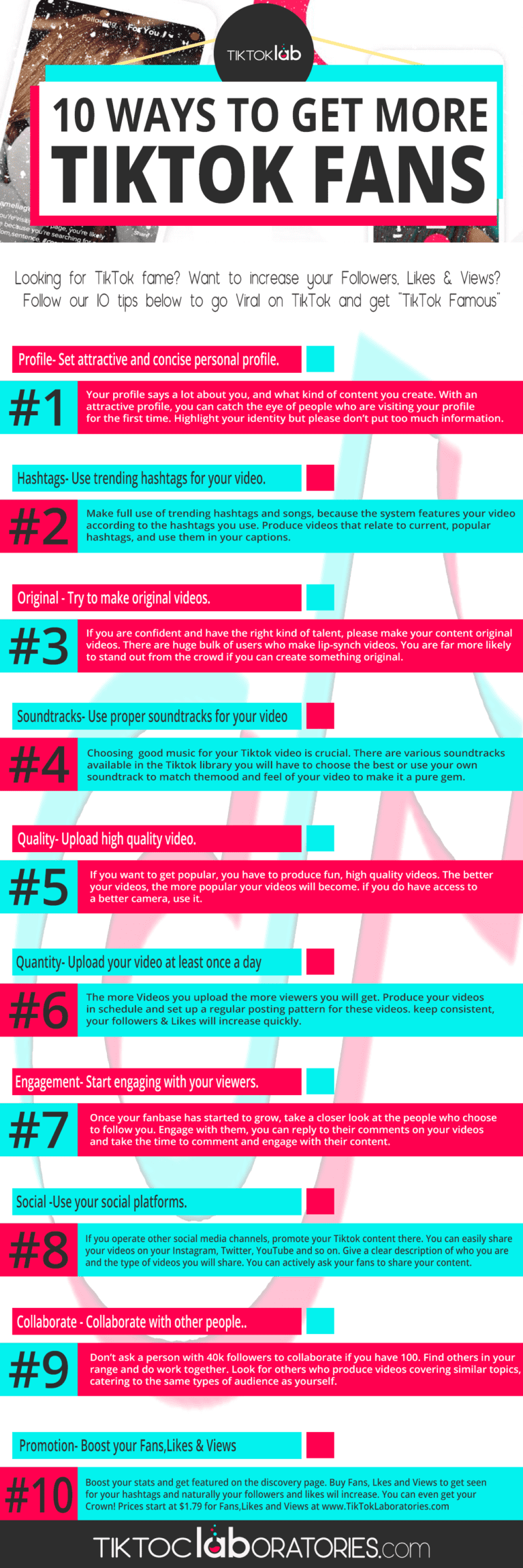 Get more Tiktok fans and strengthen your brand on this platform by checking out this infographic.