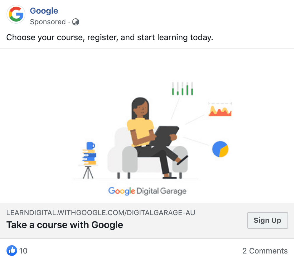 Google Facebook ad
