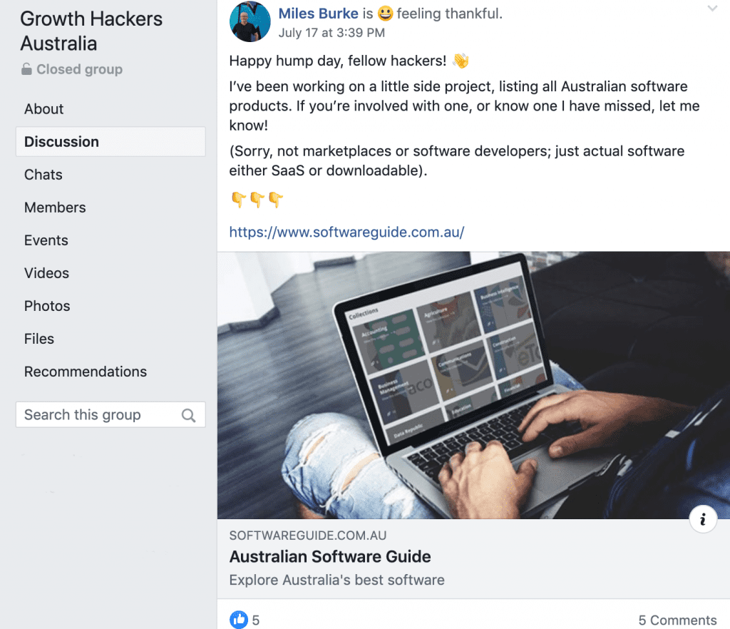 Example of Facebook content related to group discussions - Growth Hackers Australia