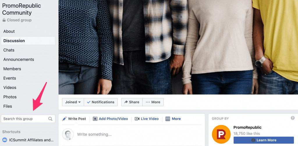 Facebook content group search example