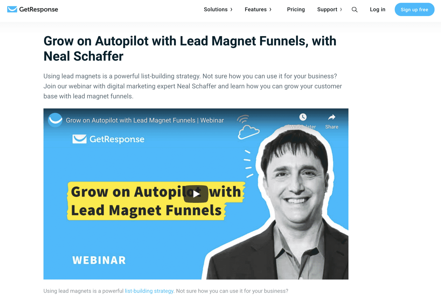 GetResponse email maketing lead magnet webinar with neal schaffer