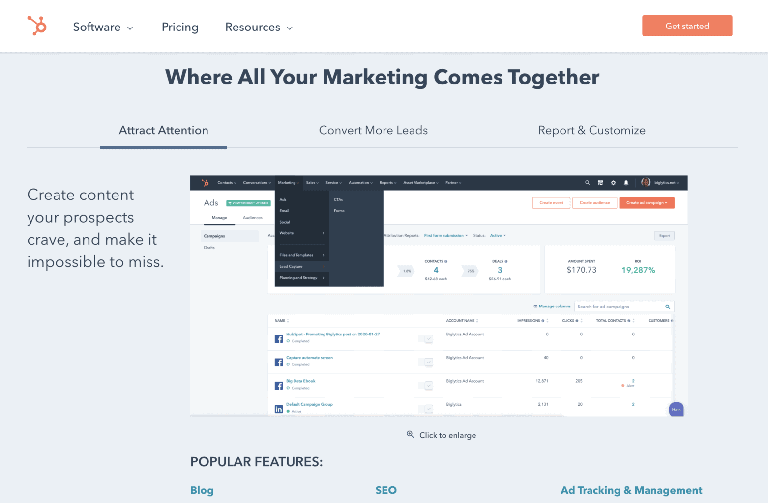 Hubspot content marketing all-in-one screenshot