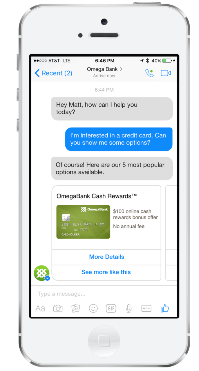 Omega Bank Facebook Messenger bot example