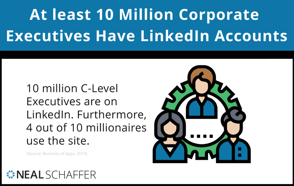 At least 10 million corporate executives have accounts.