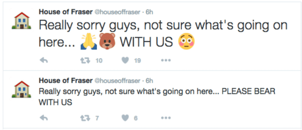 House of Fraser's emoji campaign apologies