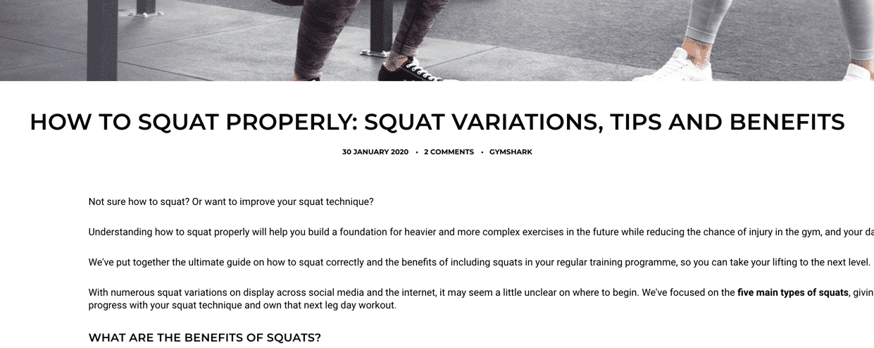 gymshark content marketing example