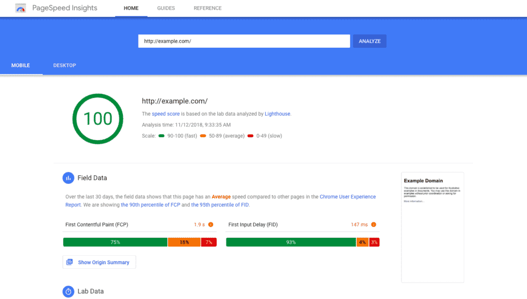 Google Pag Speed Insights