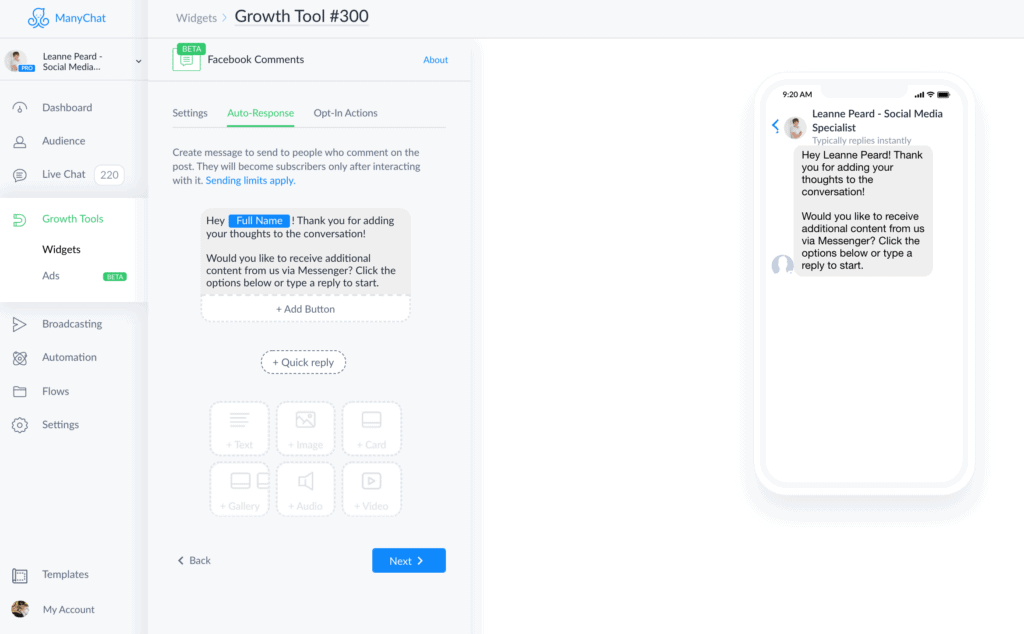 ManyChat - Customize Message