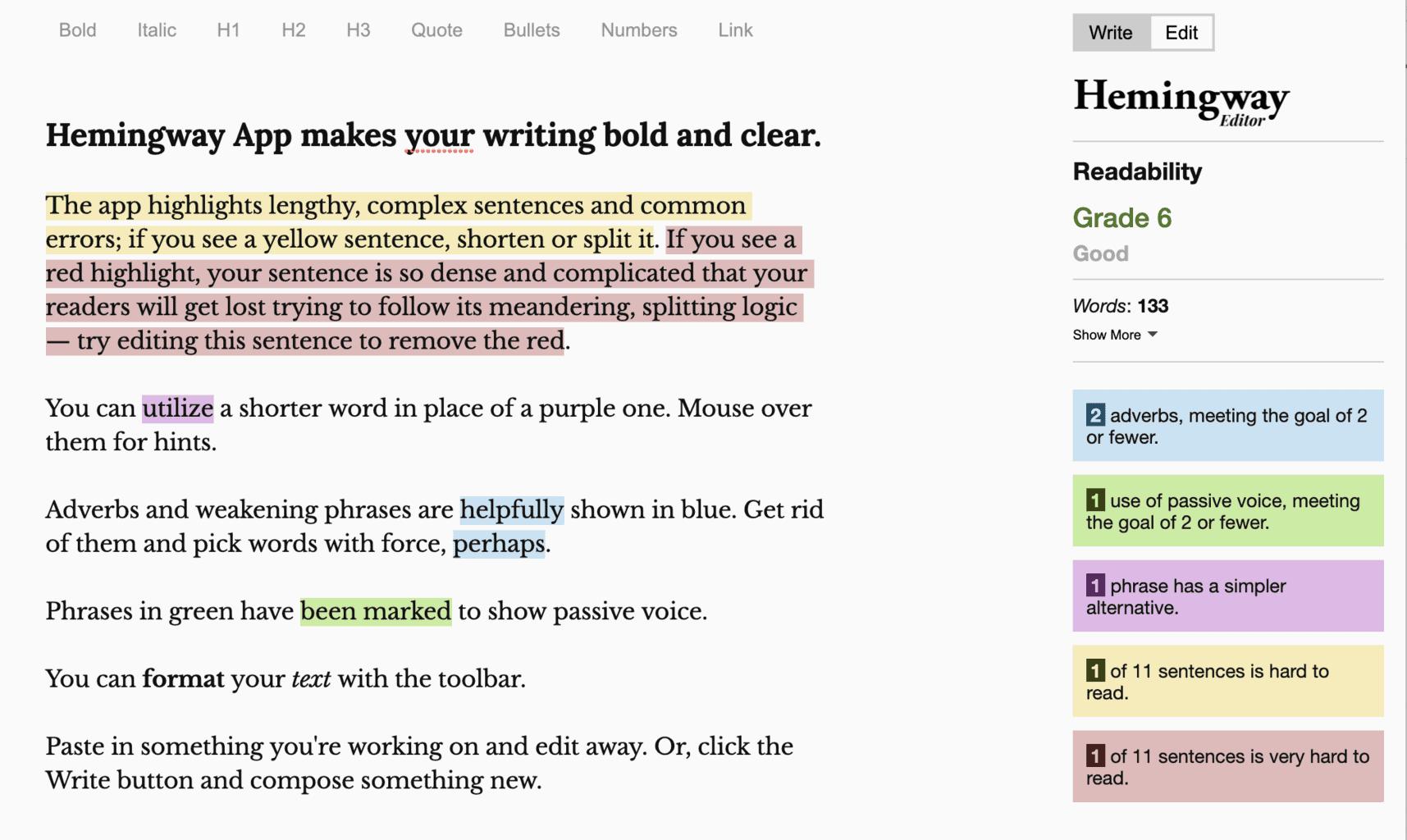Hemingway App editor screenshot