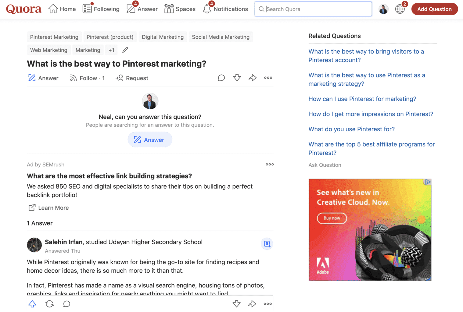 Quora Q&A on Pinterest marketing