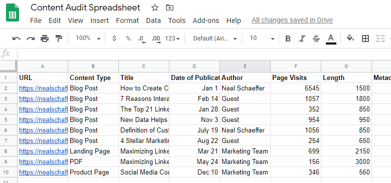 content auditing spreadsheet