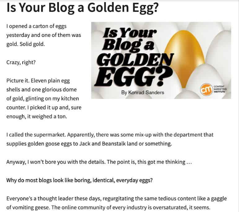 Golden Egg blog post