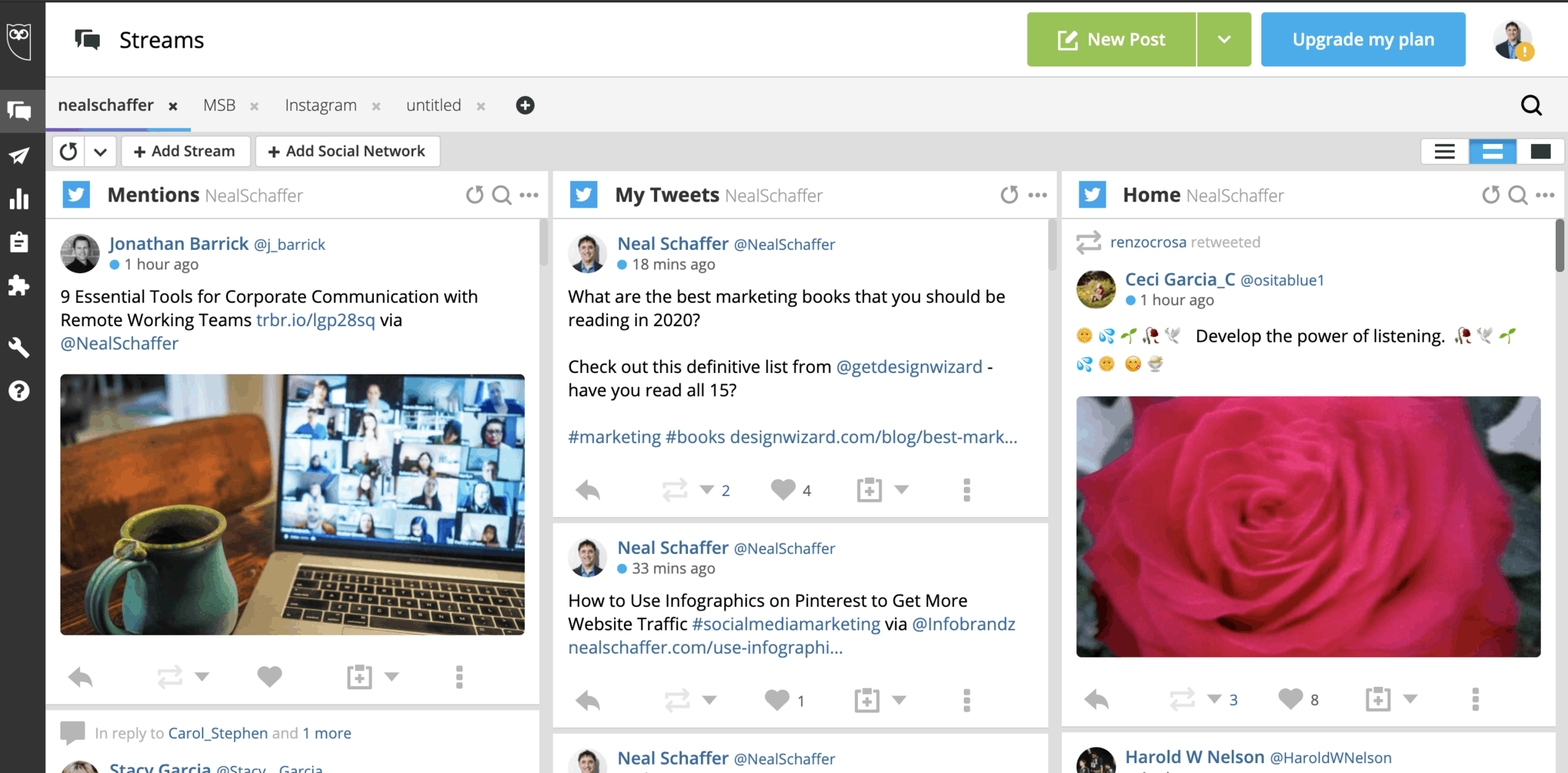 hootsuite social media dashboard screenshot