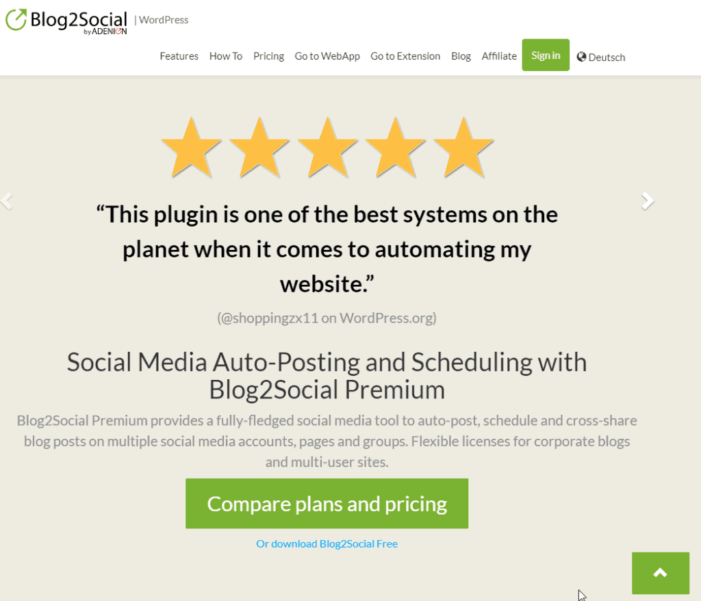 Reviews on the Blog2Social front page