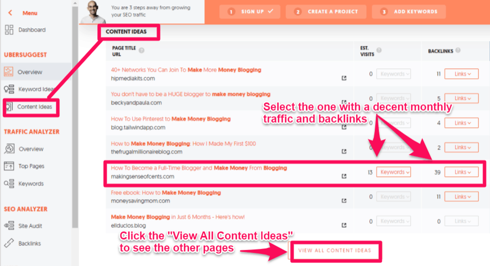 Growth hacking content ideas with Ubersuggest