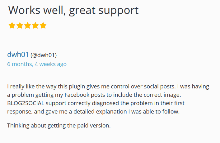 Blog2Social 5-star-rating for great support