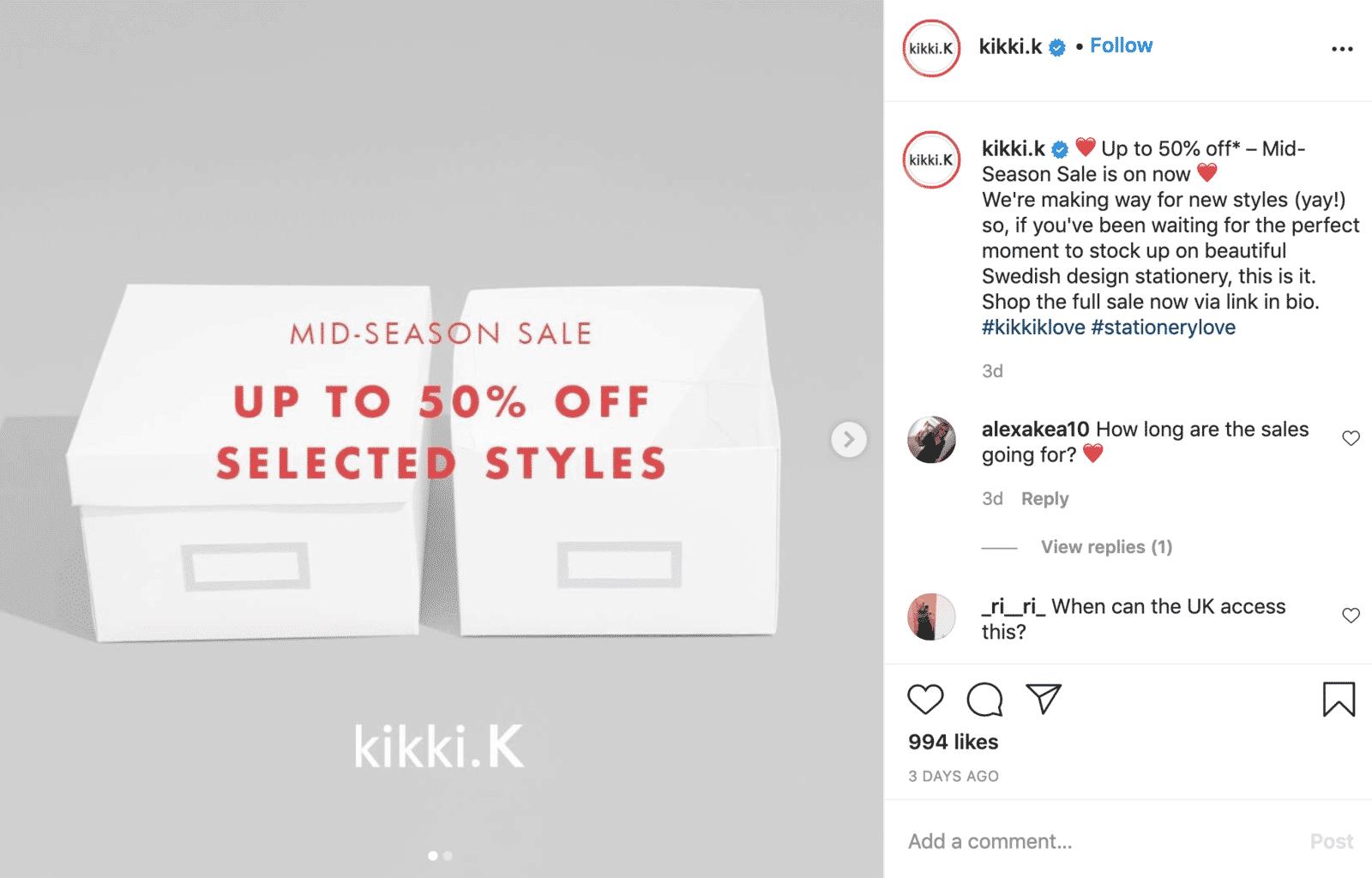 Instagram shopping example: kikki.K