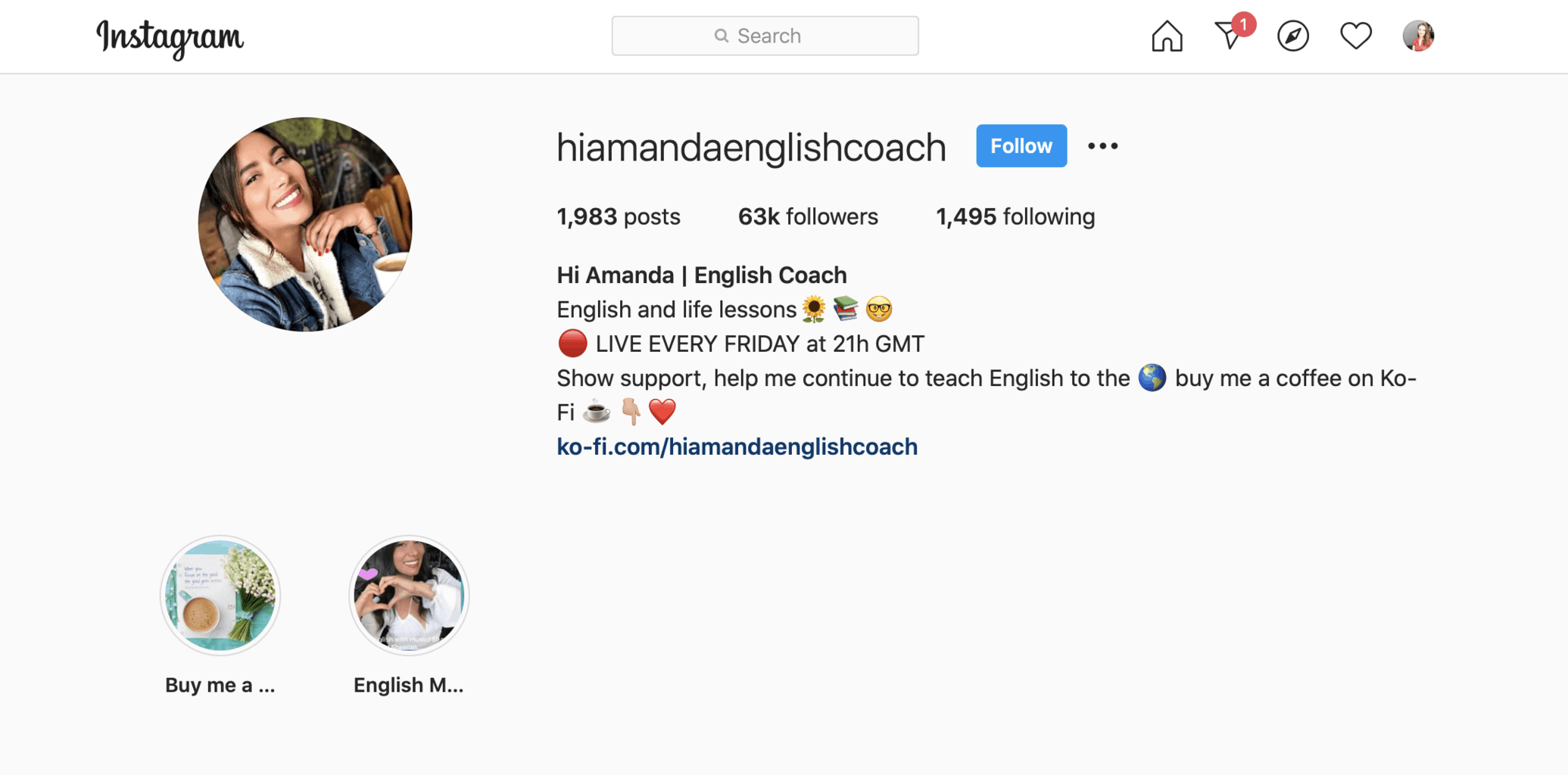 Profil de Amanda English Coach