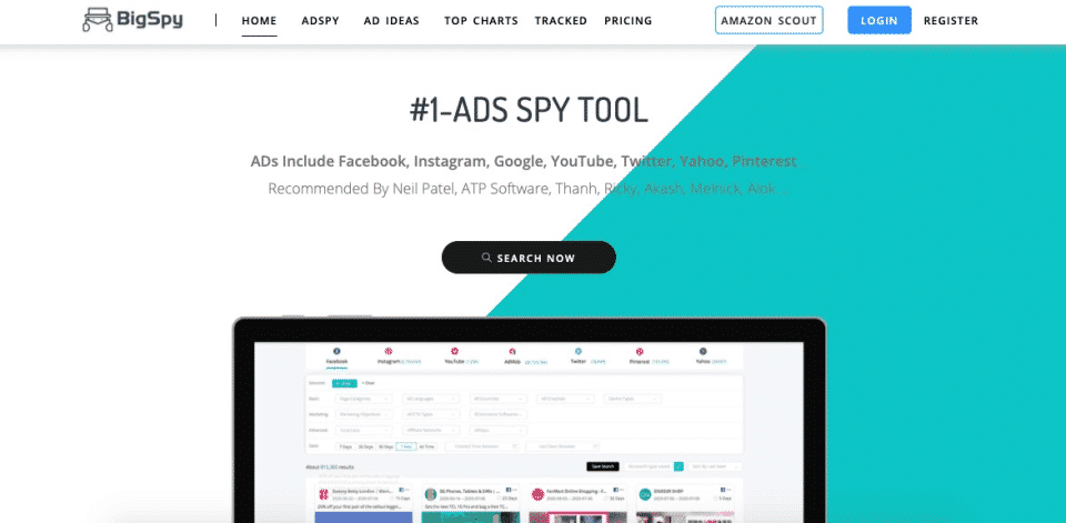 rastrear competidores anuncios de facebook bigspy