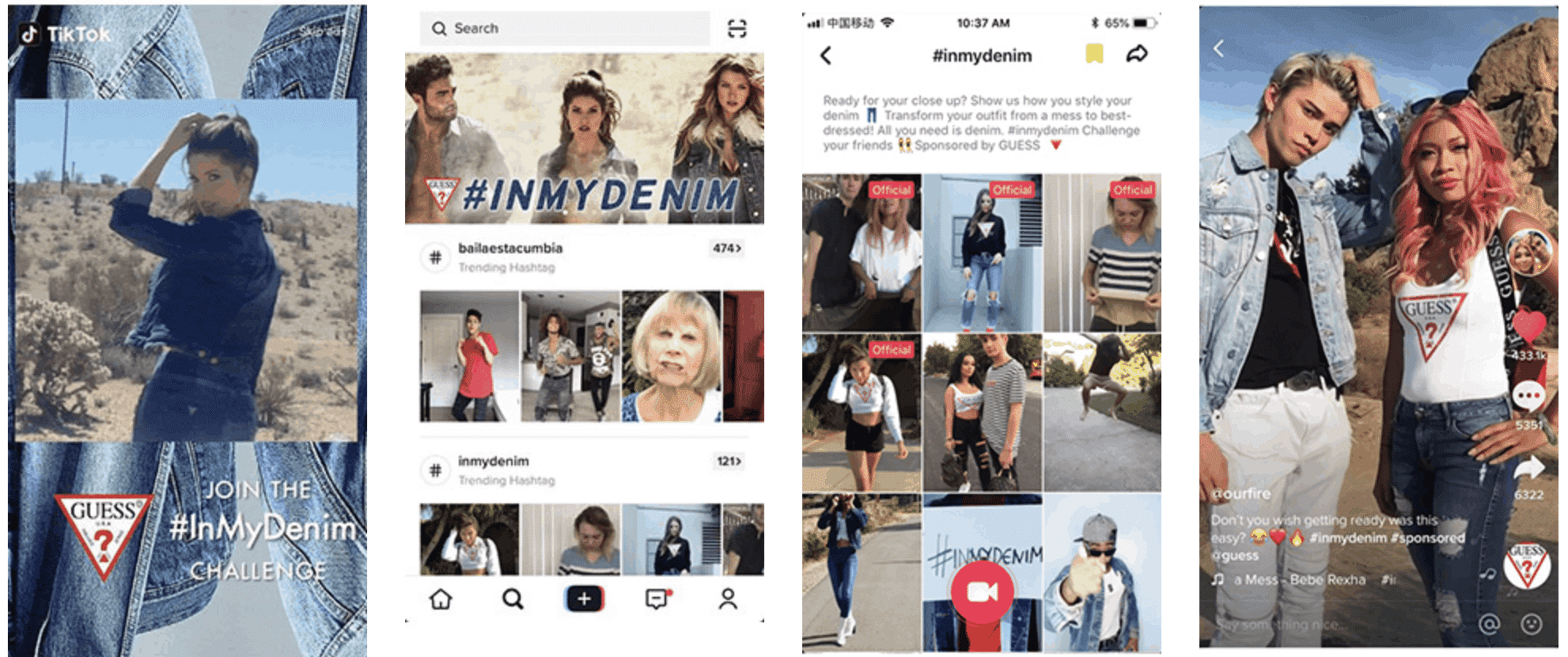 Guess launched the #InMyDenim Hashtag Challenge on TikTok ads