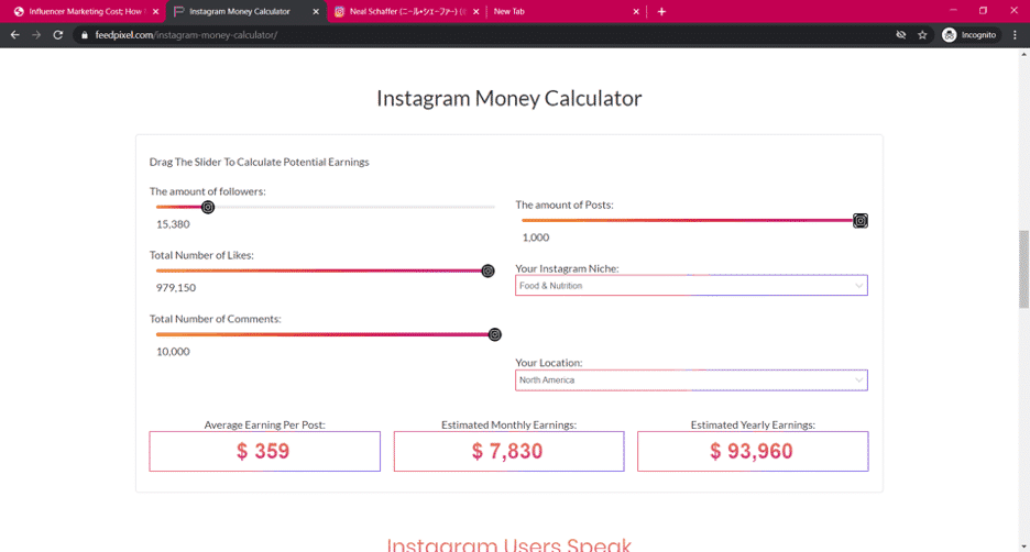 Feed Pixel instagram influencer calculator
