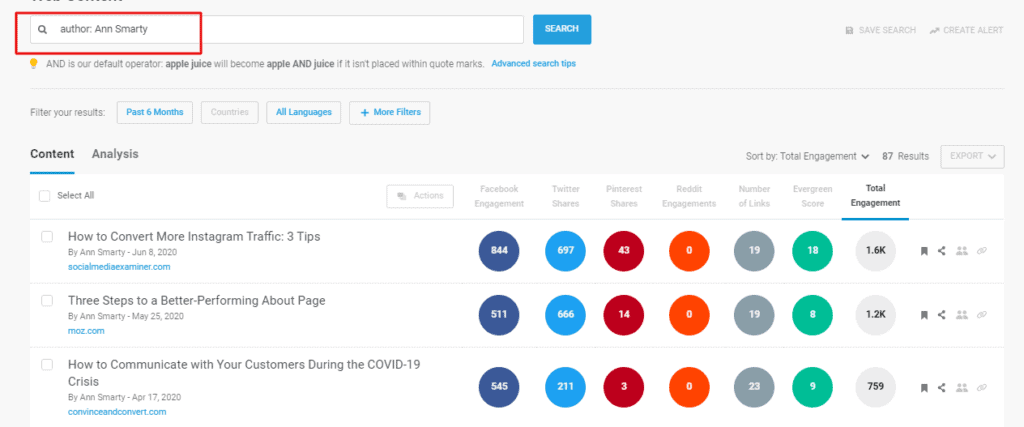author ann smarty search results in buzzsumo