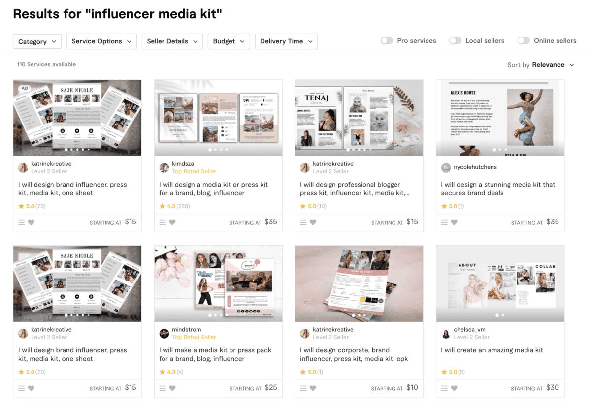 fiverr influencer media kit providers