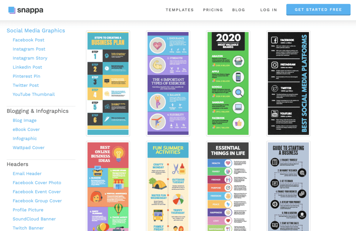 Snappa infographic templates