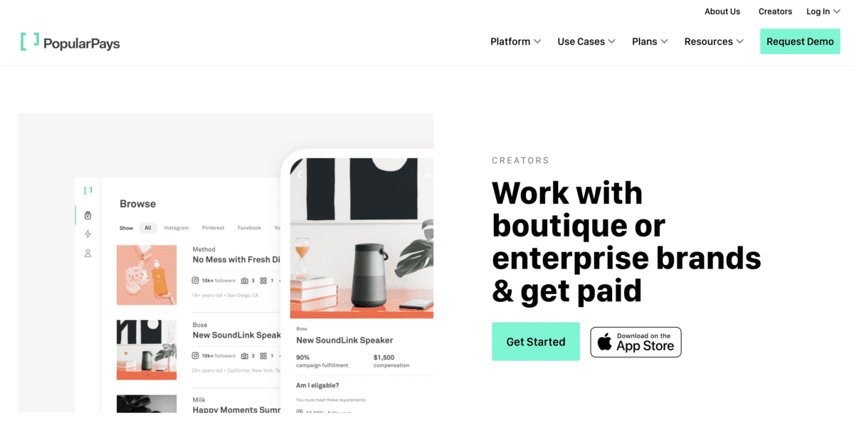 PopularPays work with boutique or enterprise brands & get paid as a social media influencer