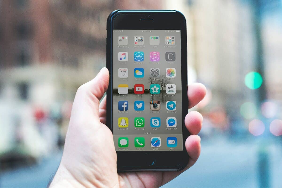 Smartphone homescreen in Manhattan, New York
