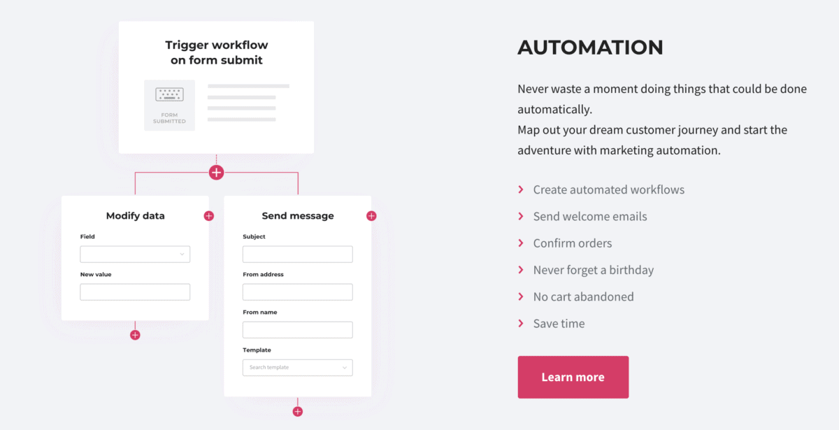 smaily email service provider automation features