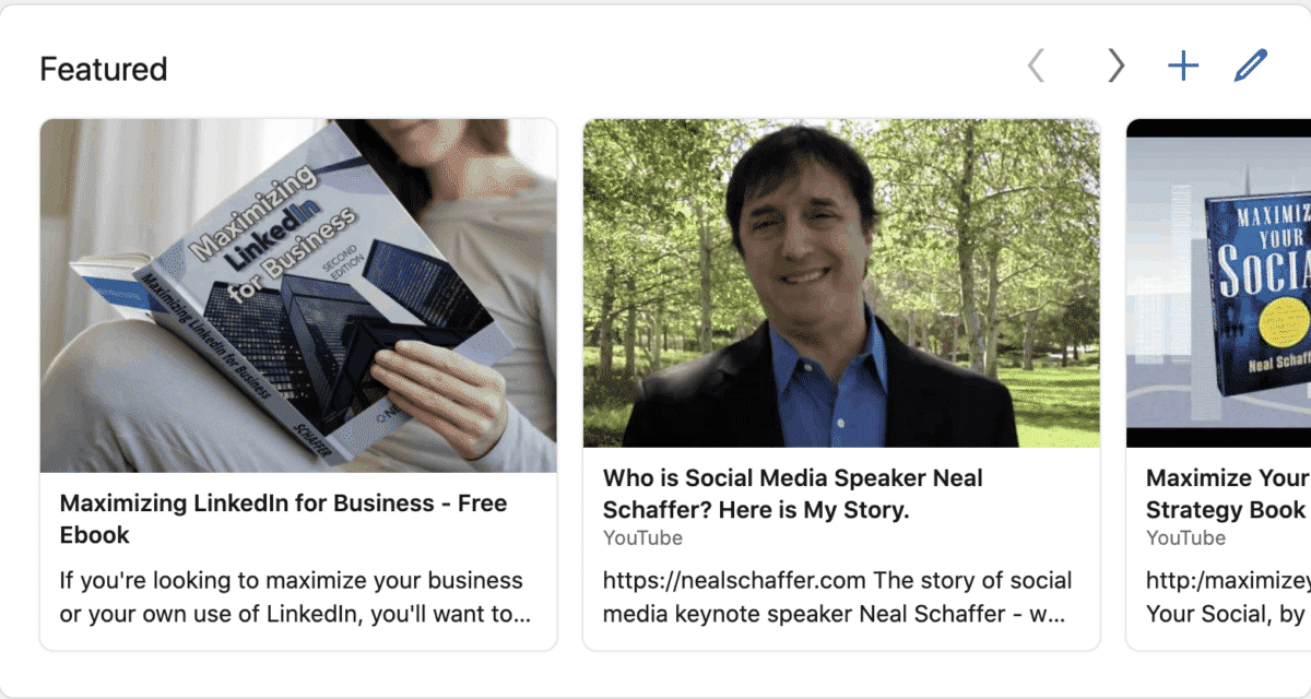 linkedin featured content example