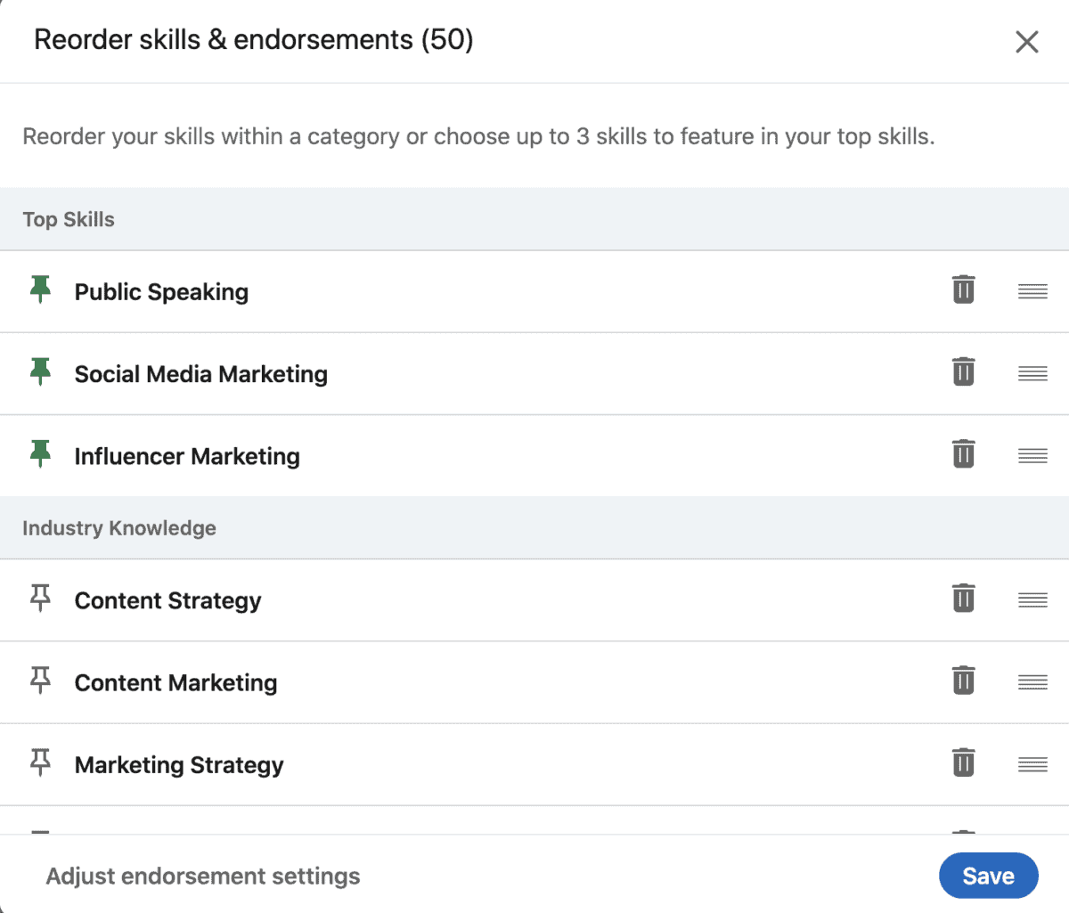 pin your top 3 skills on your LinkedIn profile