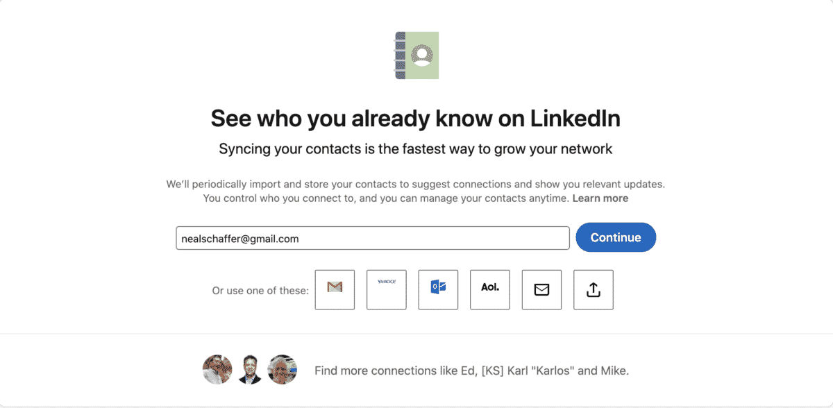 import your contacts to linkedin