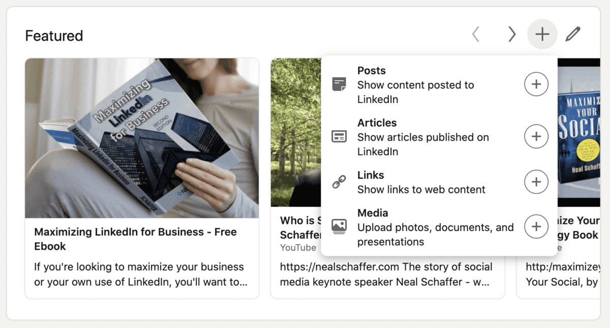 linkedin featured section options
