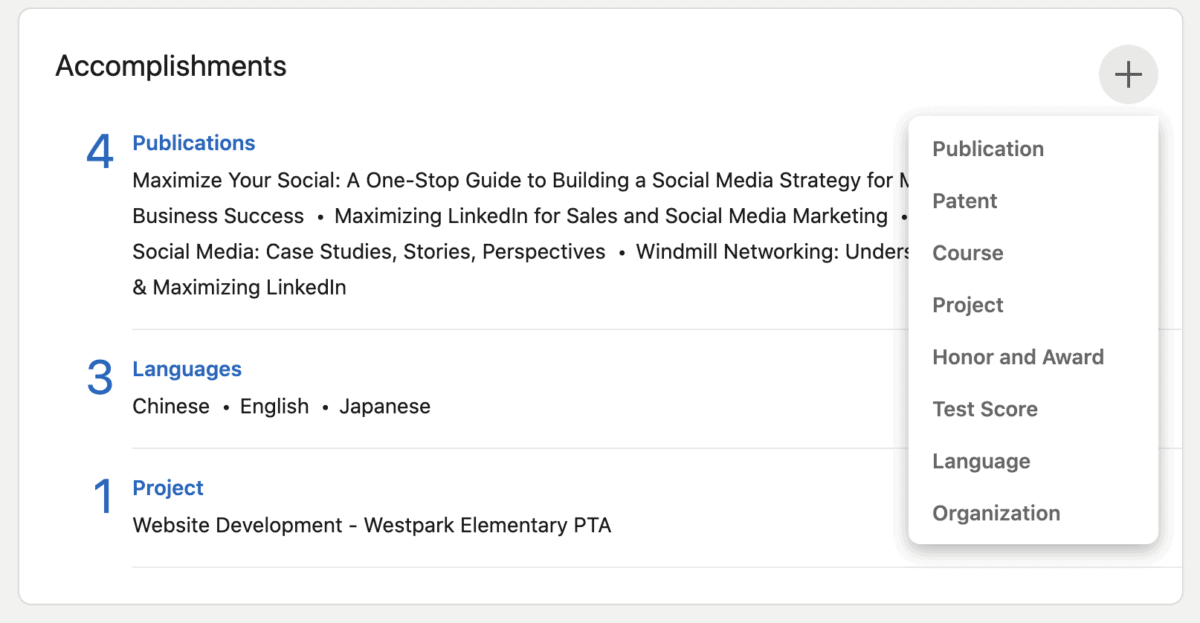 add linkedin sections to your profile