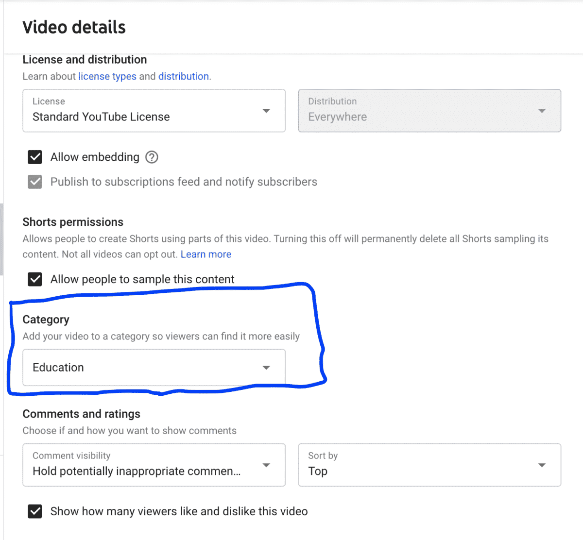 edit youtube video category details