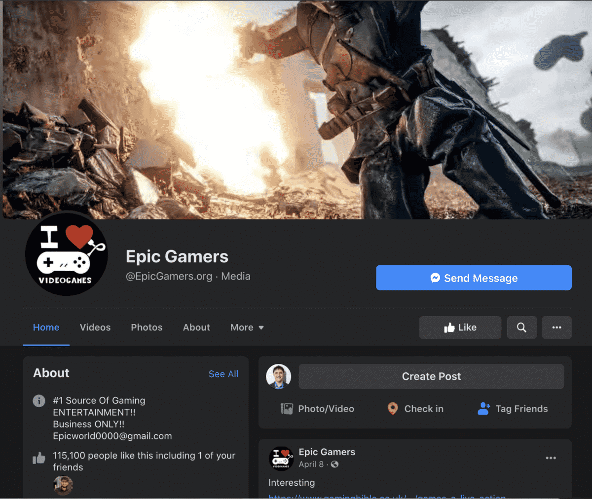 epic gamers facebook business page