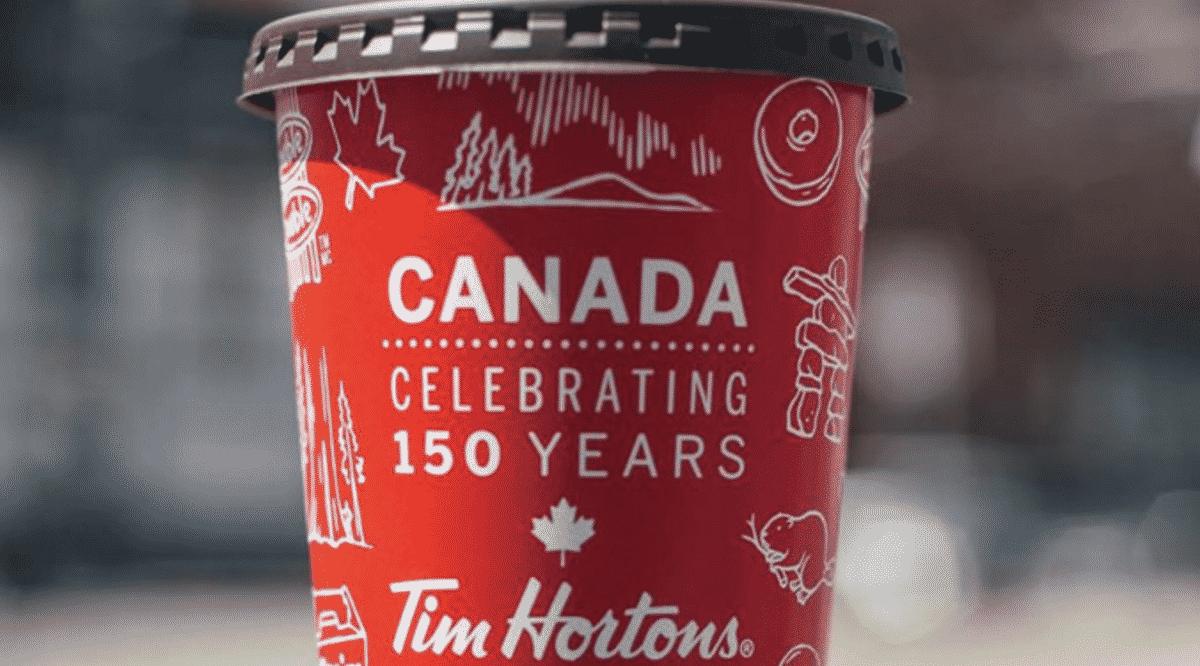 tim horton's celebrating Canada's 150th birthday coffee cup