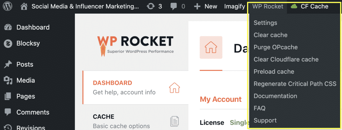 WP Rocket easy to use caching direct access from WordPress dashboard quick menu
